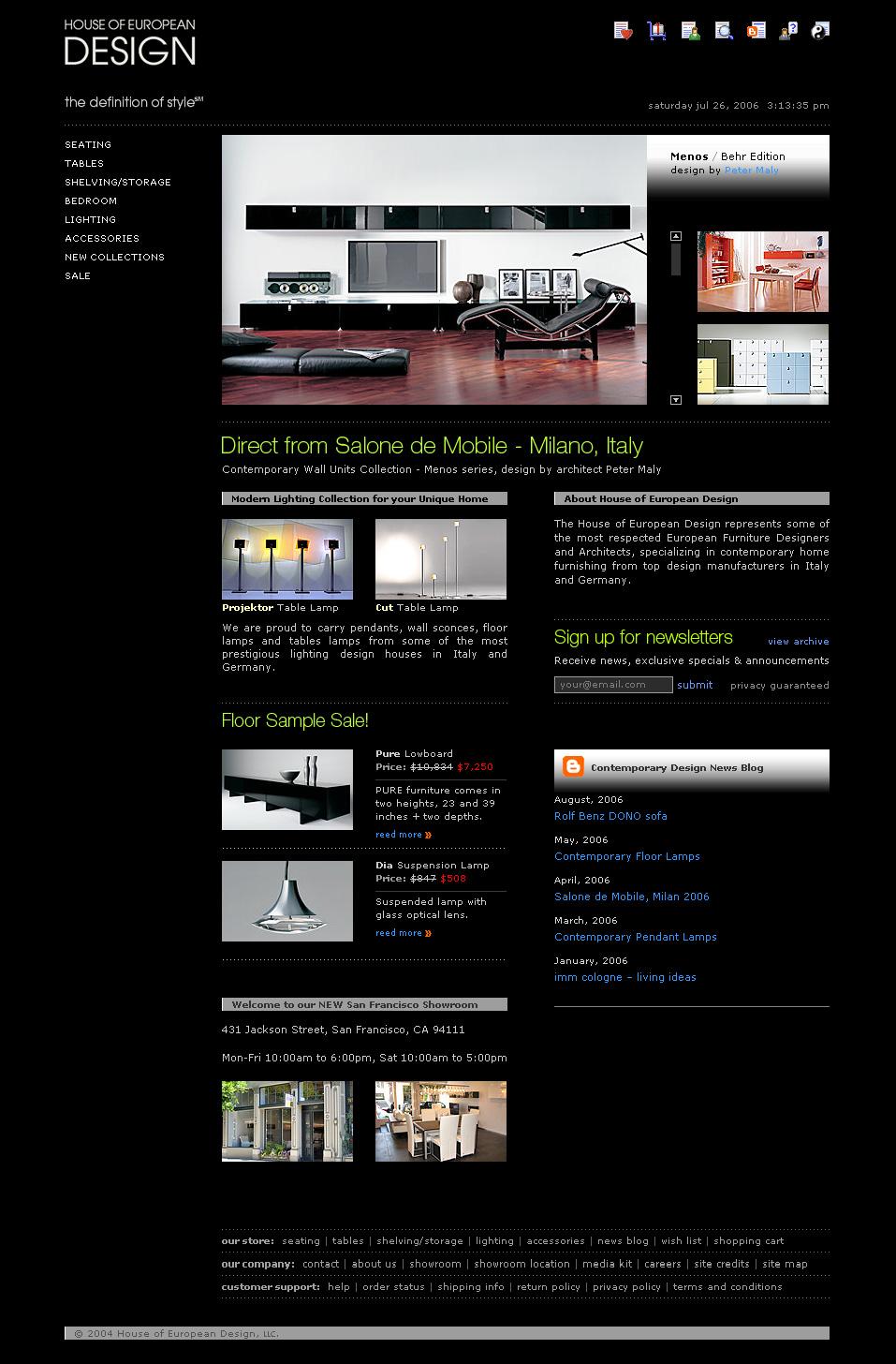 San Francisco furniture store e-commerce web design